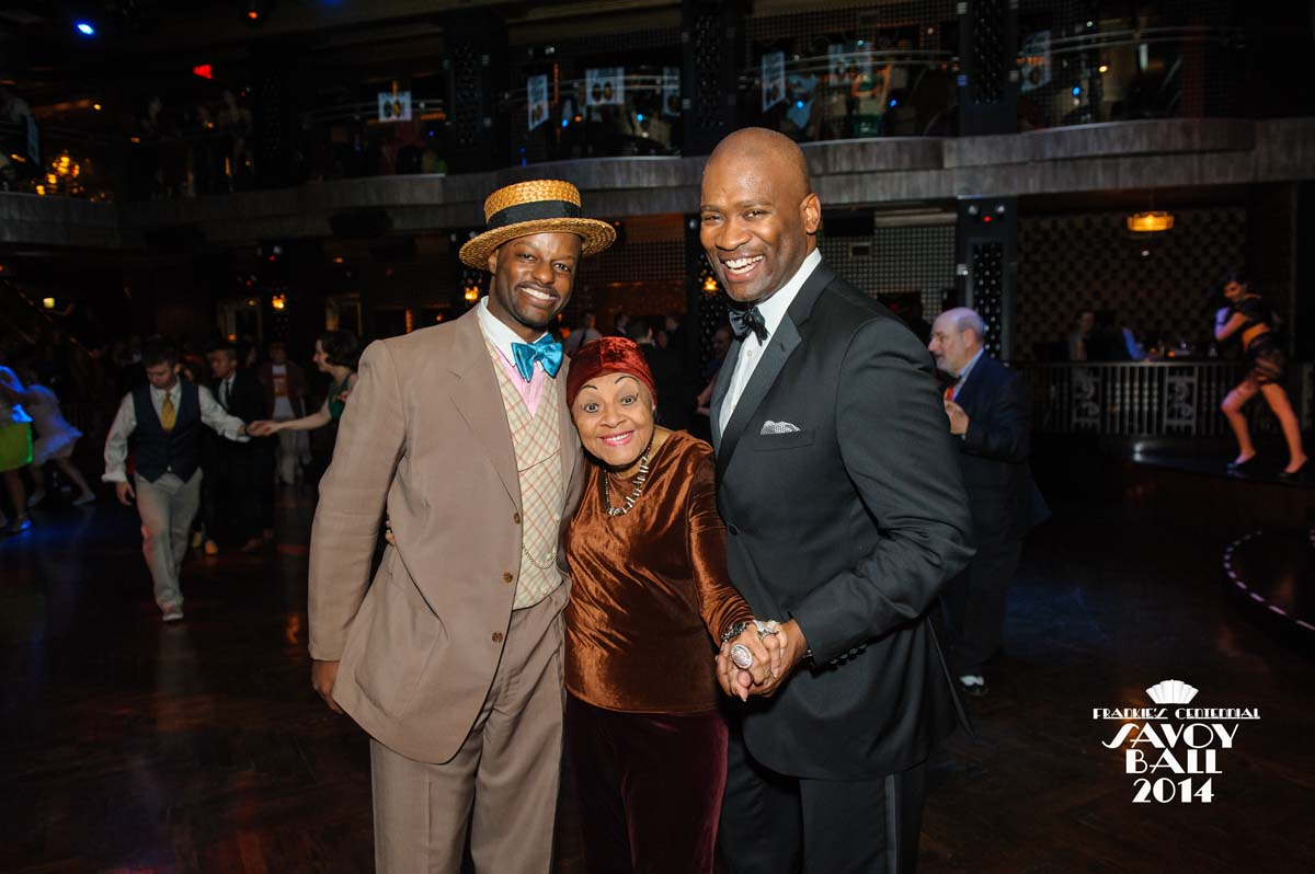 Dawn Hampton with Dandy Wellington and John DokesRoddy Caravella's Varsity Syncopators Ryan Francois and Evita Arce Syncopate City and Ryan Francois at  at Frankie's Centennial Savoy Ball 2014 - Photo by Jane Kratchovil