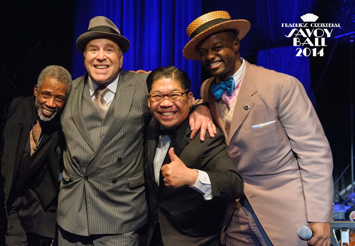 Chester Whitmore, Alan Sugarman, George Gee and Dandy Wellington  at Frankie's Centennial Savoy Ball 2014 - Photo by Jane Kratchovil
